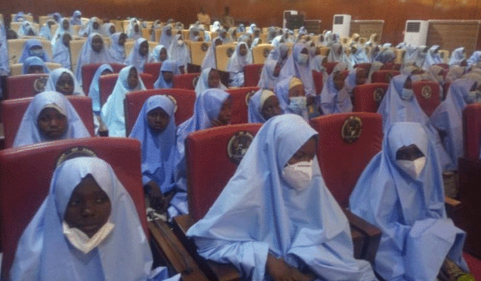 The freed 279 female students of Government Girls Secondary School, Jangebe, Zamfara State, abducted on Friday by bandits