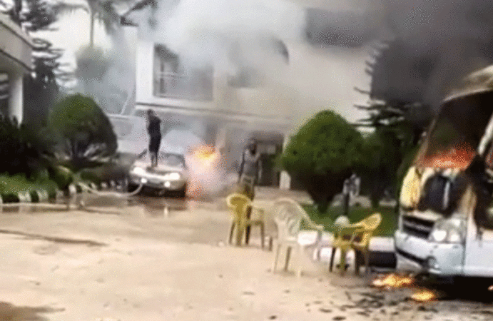Gunmen, on Saturday April 24th, 2021, attacked the country home of Imo State Governor Hope Uzodinma, razing part of the building, vehicles parked in the compound and killing two security aides.