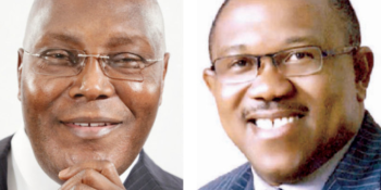 Former vice president and Peoples Democratic Party (PDP) presidential candidate in the 2019 general election, Alhaji Atiku Abubakar, and his running mate, Mr. Peter Obi