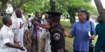 A police officer has threatened to shoot at a suspected member of the Indigenous People of Biafra (IPOB) at the Federal High Court, Abuja., during Nnamdi Kanu's trial