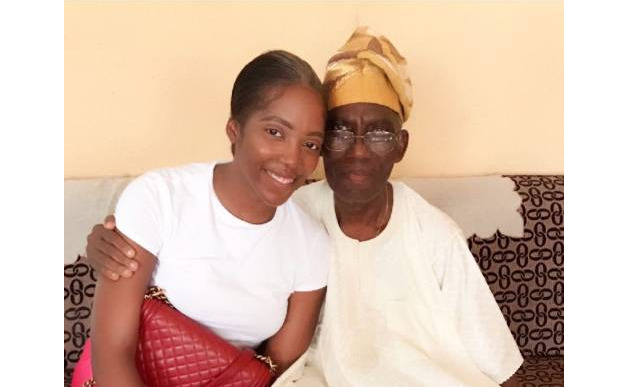 Tiwa Savage, the award-winning Nigerian singer and songwriter, with her father