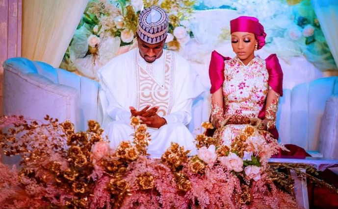Yusuf Buhari and his wife, Zahra, yesterday hosted dignitaries that included President Muhammadu Buhari; his wife, Aisha Buhari, and Vice President Yemi Osinbajo, to a post-wedding luncheon in Abuja.
